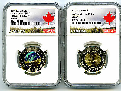 2017 Canada $2 Glow In Dark Dance Of Spirits Ngc Ms66 Unc Toonie 2-Coin Set Rare