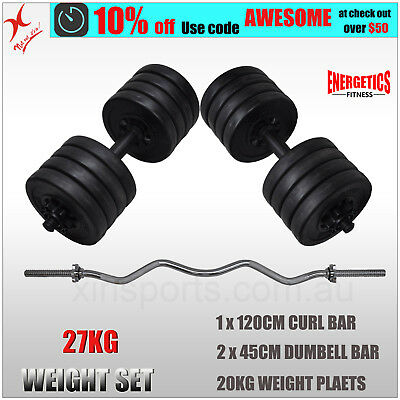 27Kg Curl Bar Barbell Weight Set With 45Cm Dumbell Weight Set 20Kg Weight Plates
