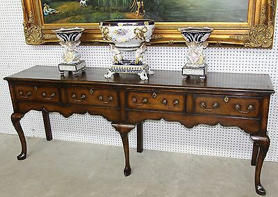 "Antique Seven Ft 3"" English Solid Oak Inlaid Buffet Dresser Circa 1899"