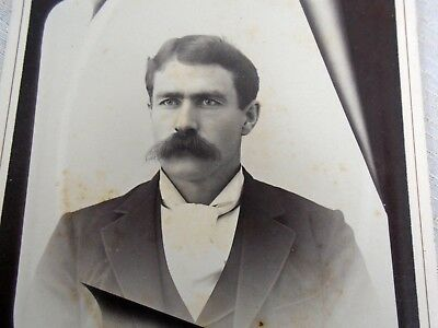 Antique Cabinet Card Photo Man with great Mustache New Glasgow Portrait Co NS