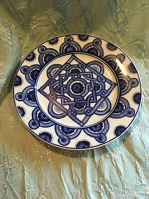 Vintage 80s Bombay Company Blue White Plate