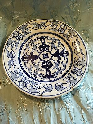 Vintage 80s Bombay Company Blue/white Plate