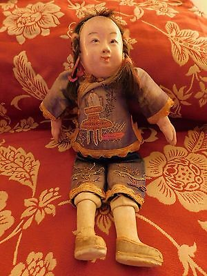 ANTIQUE CHINESE Oriental COMPOSITION DOLL glass silk embroidered clothes 10 1/2""