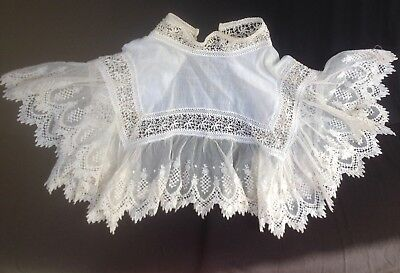 Beautiful Antique French Long Handmade Lace Collar