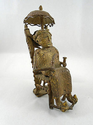 African Sand Cast Bronze Bamileke Tribe Mali Chief Under Umbrella Slave Holding