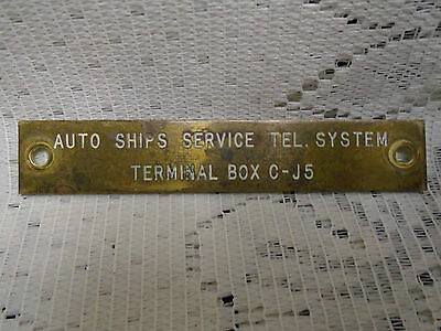 Brass Plaque Military AUTO SHIPS SERVICE TEL SYSTEM RCN or British Navy Ship
