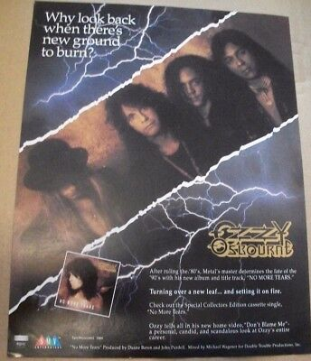 OZZY OSBOURNE - No More Tears - Promotional 1992 One Sheet 8.5x11 Advertisement
