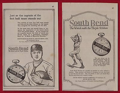 (2) SOUTH BEND Pocket WATCH Ads From 1919  South Bend IN - Sports Related