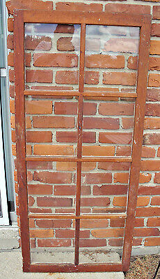 "Antique 8 Pane Farm House Wooden Window Or Wall Picture Frame 54""H Vandalia Ohio"