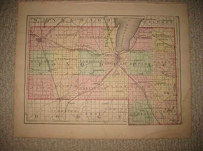 Fine Antique 1876 Waushara Marquette Green Lake Fond Du Lac County Wisconsin Map