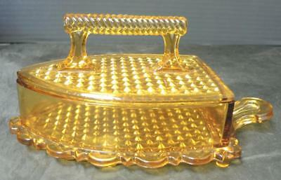 "Rare Early American Pressed Glass Amber ""Sad or Flat Iron"" Covered Butter Dish"