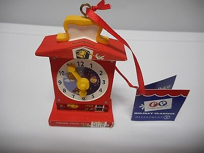 Fisher Price Department  56 - Ornament - Teaching Clock - Holiday Classics - New