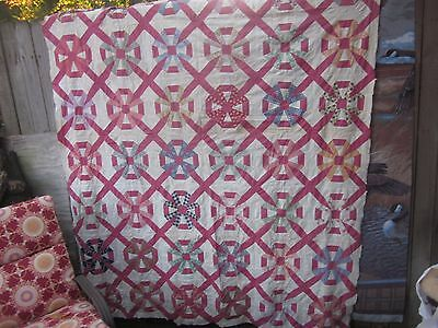 Stunning 30's Carpenter's Wheel antique quilt TOP, twin/double, by hand, S.C.