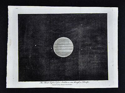 1806 Astronomy Print - Jupiter with Four Moons - Solar System Planet - Original