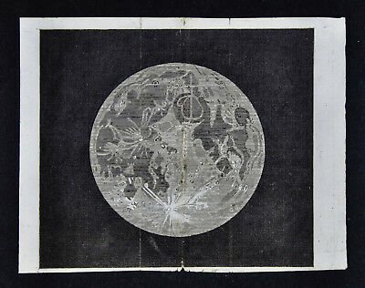1806 Astronomy Print - Moon - Lunar Surface Craters - Original Antique Engraving