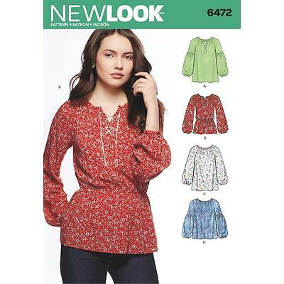 NEW LOOK NÄHEN Muster Misses\' Boho Bluse Size 8 - 20 6472 - EUR 10 ...