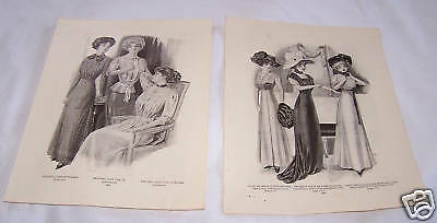 2-1909 Delineator Fashion Plates-Pattern-Ladies-Dress