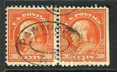 USA;  1908 early President's series issue used 30c. Pair ( almost separate perf)