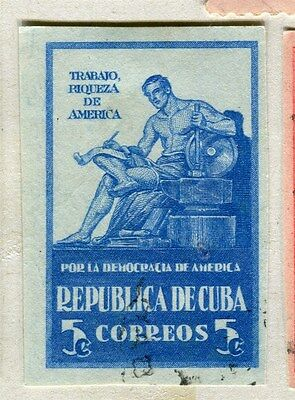 SPANISH CARIBBEAN;  1942 early Democracy issue IMPERF fine used 5c. value