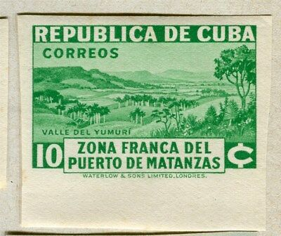 SPANISH CARIBBEAN;  1936 Port of Matanzas IMPERF issue Mint hinged 10c. value