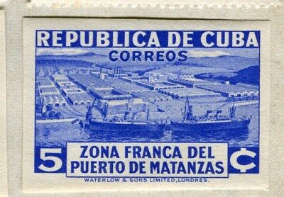 SPANISH CARIBBEAN;  1936 Port of Matanzas IMPERF issue Mint hinged 5c. value
