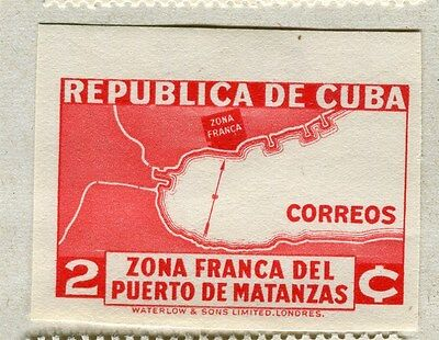 SPANISH CARIBBEAN;  1936 Port of Matanzas IMPERF issue Mint hinged 2c. value