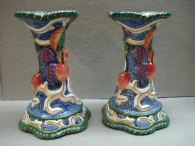 Older FITZ & FLOYD FLORENTINE FRUIT TAPER CANDLE HOLDERS