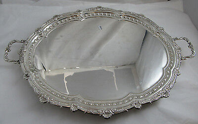 "Heavy Tray On Legs with handles 23.50"" x 16"" - Sterling Silver 925 - 1562g"