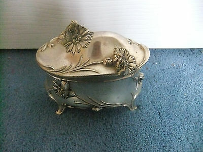 Vintage Keepsake Box Flower Design Hinged Lid Red Velvet In PRINCESS Silverplate