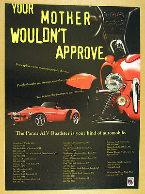1998 Panoz AIV Roadster red car photo vintage print Ad