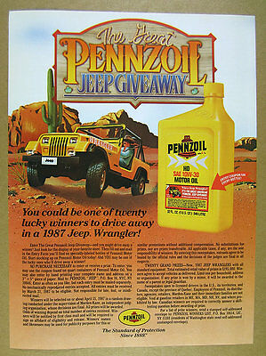1986 Pennzoil Great Jeep Giveaway yellow wrangler illustration art vintage Ad