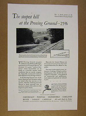 1929 General Motors GM Proving Grounds car on steep hill photo vintage print Ad