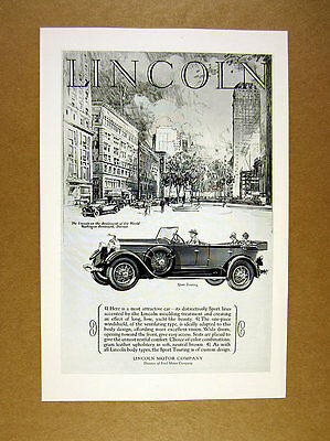 1927 Lincoln Sport Touring convertible car illustration art vintage print Ad