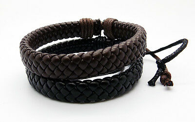 Mens Leather Bracelet Ethnic Tribal Cloth Adjustable Wax Cord Surfer Wristband