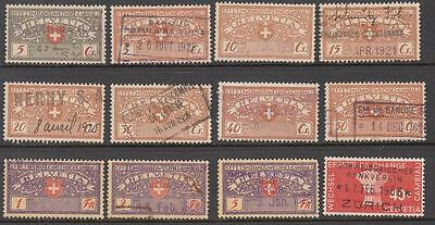Switzerland Cambiali Wechsel Bill of Exchange Revenues used diff 12 stamps