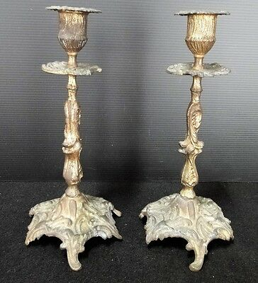 Pair Of Candle Holders Louis Xv Rockery Bronze Golden End 19 # Candlestick C268