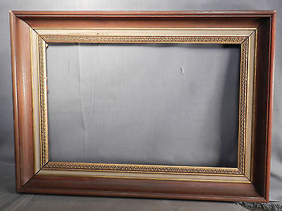 Vintage Modern Gilt Wood Gold Picture Frame 9x14 Ogee White Wash Antique Finish