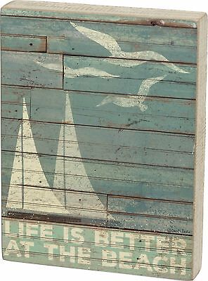 """NEW!~WOOD BOX SIGN~""""LIFE IS BETTER AT THE BEACH""""~Beach/Cottage/Sea/Slat/Nautical"""