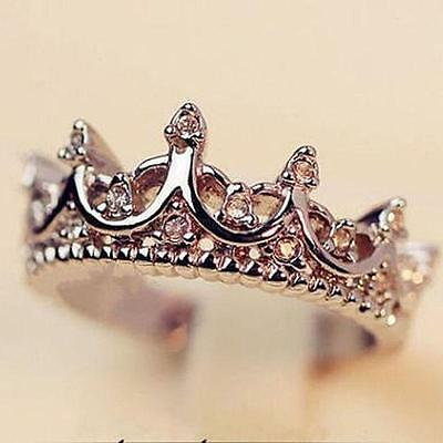 Women's Fashion Princess Silver Rose Tone Rhinestone Queen Crown Ring Size 7 8 9