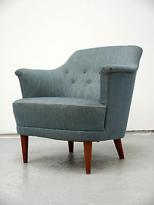 1950s VINTAGE ORIGINAL SAMSPEL CURVED LOUNGE CHAIR BY CARL MALMSTEN MADE SWEDEN