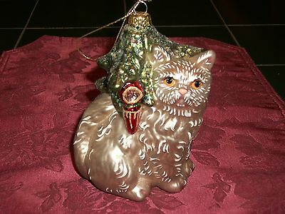 Blown Glass Glitter Christmas Ornament Persian Champagne Colored Cat Under Tree