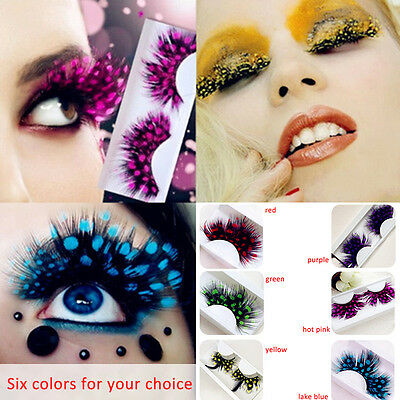 Long Feather False Fake Eyelashes Eye Lashes Halloween Fancy Dress Party Cosplay
