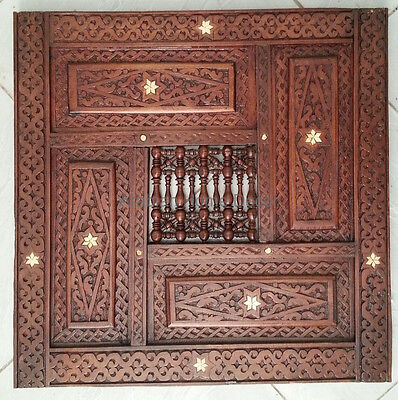 Vintage Hand Carved Syrian Home Decor Wall Hanging Wood Panel