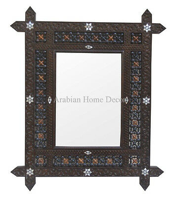 Vintage Hand Carved Syrian Moroccan Mother of Pearl Inlaid Wood Mirror Frame