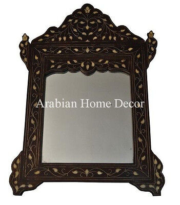 Vintage Handcrafted Syrian Mother of Pearl Inlaid Wood Wall Mirror Frame