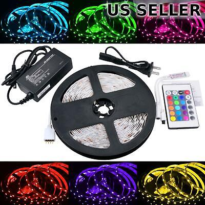 ABI 300 LED RGB Color Changing Strip Light Kit w/ Remote & Power Supply, 5M/16FT