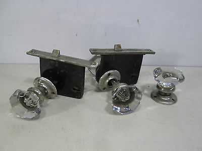 5 Vintage Smooth Round Front Glass Door Knobs, Backplates & Lock sets