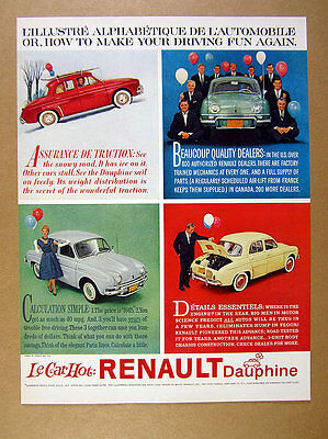 1959 Renault Dauphine red teal green gray yellow car photo vintage print Ad
