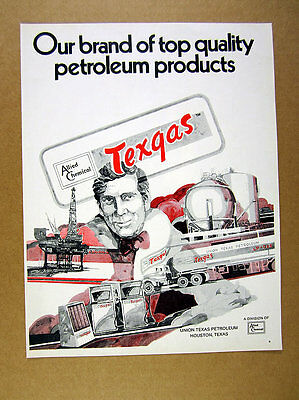 1971 Union Texas Petroleum Texgas truck drilling platform pumps art print Ad