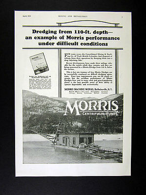 1929 Morris Dredge recovering mining tailings from Trail BC lake photo print Ad